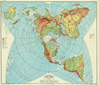 U.S. Air Force map of the world, 1961 ✅A3 on SPECIAL CANVAS ✅ FREE DELIVERY