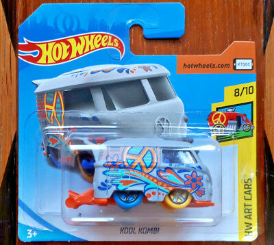 2018 Hot Wheels Art Cars Vw Volkswagen Camper Van Kool Kombi/combi Hippy New