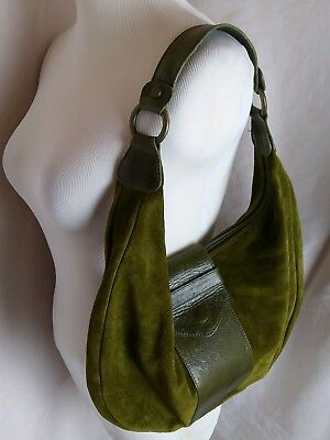 f38717ee9b3b MAURIZIO TAIUTI ITALY Medium Green Leather Shoulder Hobo Tote Slouch Purse  Bag