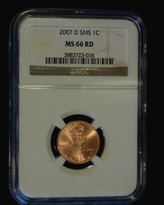2007-D SMS *Special Mint Set* LINCOLN MEMORIAL CENT CERTIFIED NGC MS66 RED ~S654
