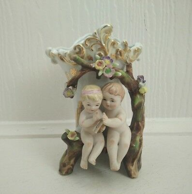 Vintage Cherubs Flower Vase Porcelain Vase Marked