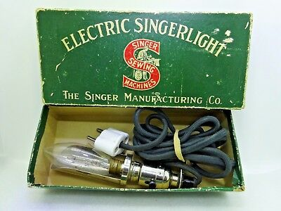 Vintage Rare Electric Singer Sewing Machine Light in Original Box with Papers