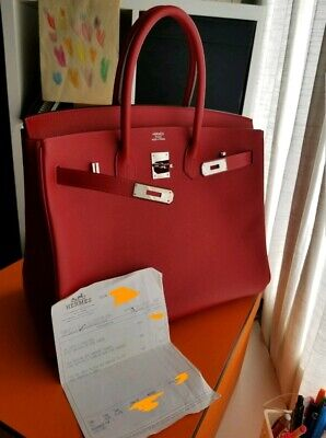 7e90207680 Authentic Hermes Birkin 35 Epsom Rouge Casaque Red Stamp R Kelly constance  mint