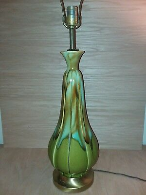 Mid Century Modern Green  Drip Glaze Pottery Table Lamp Vintage .FREE SHIPPING