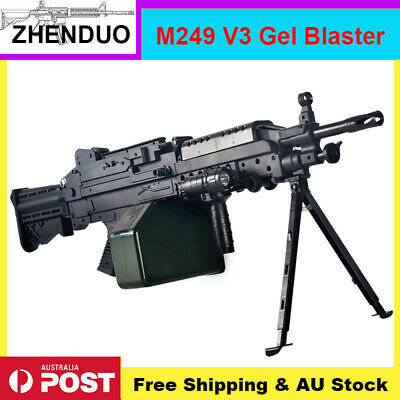 AUSSIE Stock: ZH M249 Nylon Gel Ball Blaster Water Bullets Mag-fed Toy Outdoor