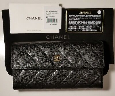 1dd238367da3 100% Authentic Chanel Cc Gusset Flap Wallet Quilted Caviar Lambskin Long New