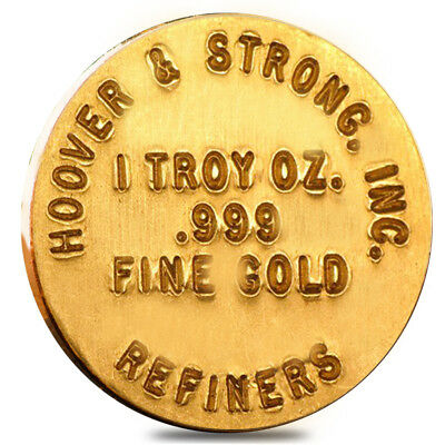 1 oz Hoover & Strong .999 Gold Round Button