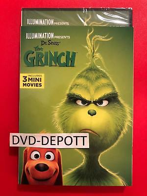 The Grinch DVD & Slipcover (2018) {{AUTHENTIC DVD READ}} New FAST Free Shipping