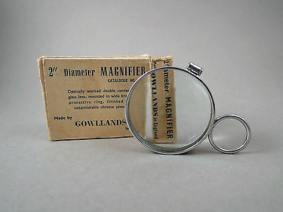 Rare unusual vintage magnifying glass magnifier by Gowllands, made in England