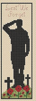 Cross Stitch Chart bookmark 2 Lest we forget Remembrance Day soldier poppy TSG37