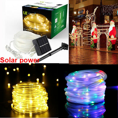 100 LED 12M Solar Power String Rope Fairy Lights Xmas Garden Party Outdoor Lamp