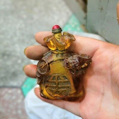 "China Old Coloured Glaze Snuff Bottle carven""平安""Statue Bronze with Jade Lid"