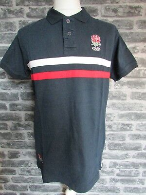 England Rugby Official Rfu Mens Navy Heavyweight Polo Shirt S M L Rrp £30