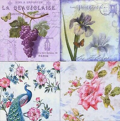 4 paper napkins for Decoupage /wedding/tea partly