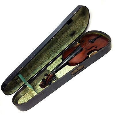 Old Antique 4/4 Full Size Violin in Original Wooden Case