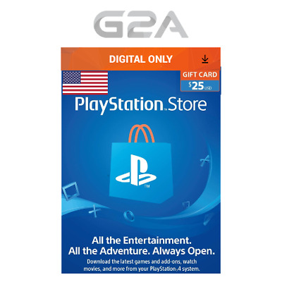 PlayStation Network $25 USD Code - 25 Dollar 25$ PSN US Store Card - PS4 PS3 US