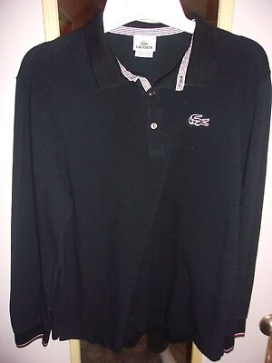 59dec4cd1b Mens Lacoste Black Long Sleeve Polo Shirt size 6 pre-owned Large 100% cotton