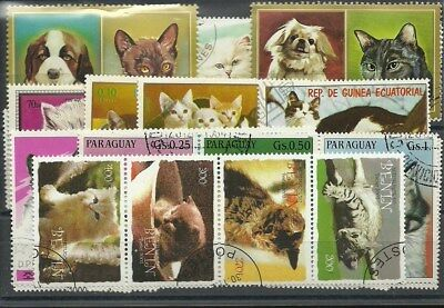 "Lot 50 timbres thematique ""Chats"""