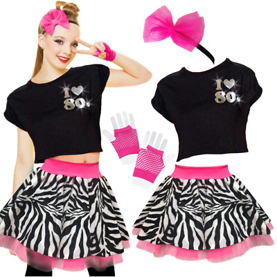 Girls 80's Costume TOP or SKIRT fancy dress Costume NEON ZEBRA Skirt or TOP