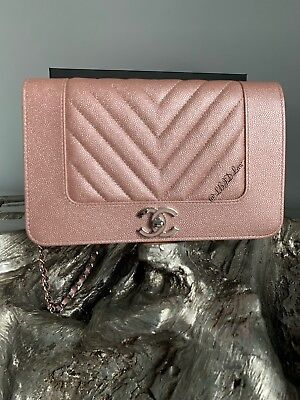 965502e0e30b81 CHANEL IRIDESCENT PINK CAVIAR CHEVRON WOC MINI BAG WALLETonCHAIN LIGHT ROSE  GOLD