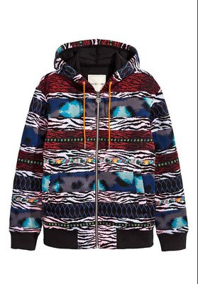 500bd8a8a9d Kenzo x H M red blue black multi color print scuba jacket zebra tiger  hoodie NEW
