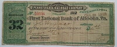 1902 Pennsylvania Railroad Co. Pay Roll Check First National Bank Altoona PA RR