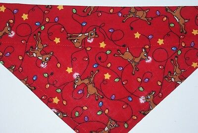 Dog Bandana, OVER THE COLLAR,clothes, pet, Size S,M,L,XL, Rudolph!