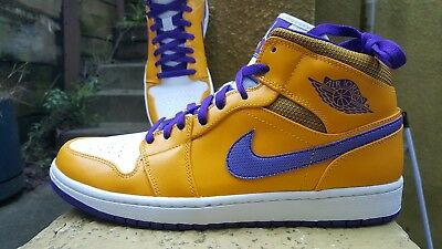brand new a5716 0c0a6 Nike Air Jordan 1 Mid Los Angeles Lakers Yellow Purple Mens 12 Shoes 554724- 708
