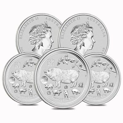 Lot of 5 - 2019 1 oz Silver Lunar Year of The Pig Lion Privy BU Australian Perth