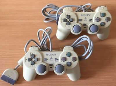Official Sony PlayStation DualShock Controllers PS1 PSOne *TESTED* x 2 #03
