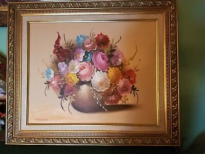 Beautiful Oil Painting Floral On Canvas Signed Roses Gold Frame P.H.Havens Nice
