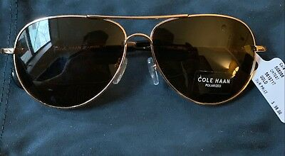f2333e15a29 New Cole Haan CH7037 Polarized Gold Brown Aviator Sunglasses BRAND NEW   98.00
