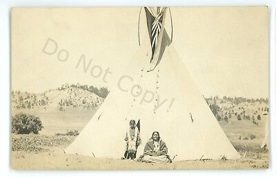 RPPC Native American Plains Indian Tipi Teepee Lady Child Real Photo Postcard