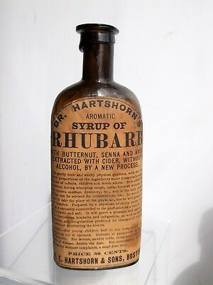 """Dr. HARTSHORN'S  MEDICINE"" Label, ""SYRUP OF RHUBARB"" from Boston"