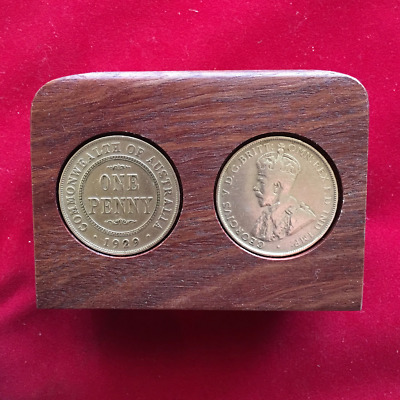 1927 Birthday Anniversary Gift Present Jarrah Plaque w 1927 Pennies. Other years