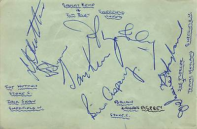 Stoke City/ Sheffield Wednesday/ United FC Signed page from 1950-60s (Mercer)