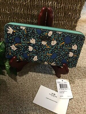 5b4bef0181 Rare Teal and Navy Floral Coach Zip Around Clutch Wallet  Hard to Find  NICE
