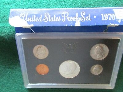 1970 5-Coin Proof Set, Mint Sealed In Holder, 40% Silver Half, Day-02989