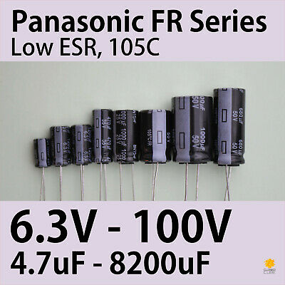[4 pcs] Panasonic FR 6.3V-100V 4.7uF-8200uF Ultra Low ESR 105°C Capacitors