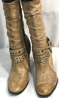 8a92dd346de A.N.A. Women s 9 M BROWN Tan Moto Buckle Boots Heels Leather Mid Calf Slouch