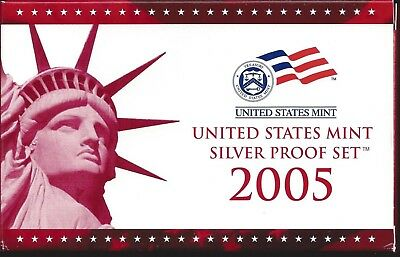 2005-S Us Mint Silver Proof Set - 11 Coin Set - With State Quarters & 2 Nickels