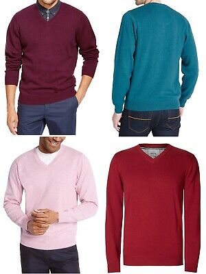 New Men Ex M&S Jumper Long Sleeve Pure Cotton V-Neck Pullover Top Size S- XXL