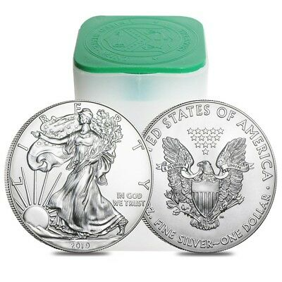 Roll of 20 - 2019 1 oz Silver American Eagle $1 Coin BU (Lot, Tube of 20)