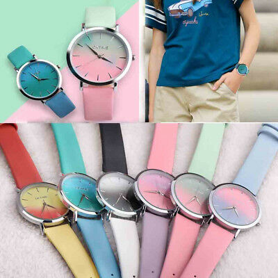Women Fashion Rainbow Design Leather Analog Alloy Quartz Wrist Watch Colorful