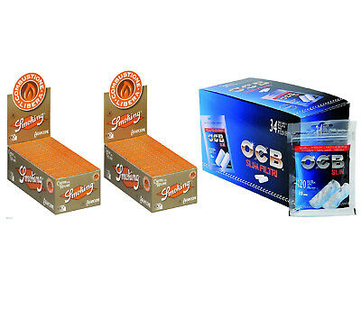 4080 Filtri OCB Slim 6mm 34 BUSTINE 1 Box + 6000 Cartine Smoking Orange Corte