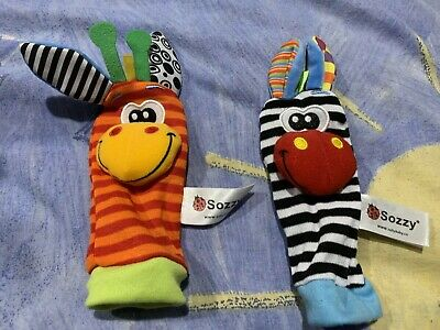 1Pair Infant Baby Newborn Zebra Kids Foot Sock Rattle Soft Toys