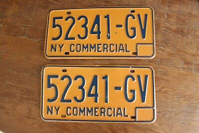 Vintage Set 2 Pair 1973-86 New York State Commercial License Plate 52341-GV NY