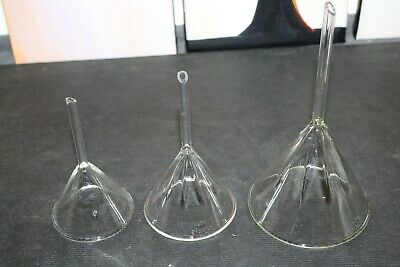 Glass Laboratory Funnels, Pyrex, Assorted Sizes