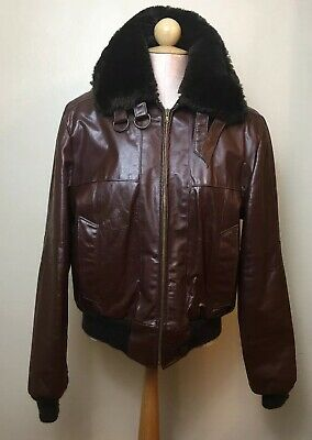Gino Leathers Mens Size 44 Leather Bomber Jacket Ox Blood Burgundy Faux Sherpa