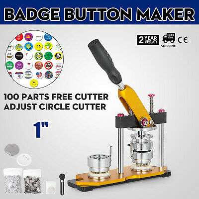 25mm(1'') Button Badge Maker Press Machine 100Pcs Pin Buttons Badge Punch Rotate